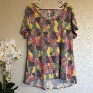 Geometric LulaRoe Short Sleeve Top 2XL